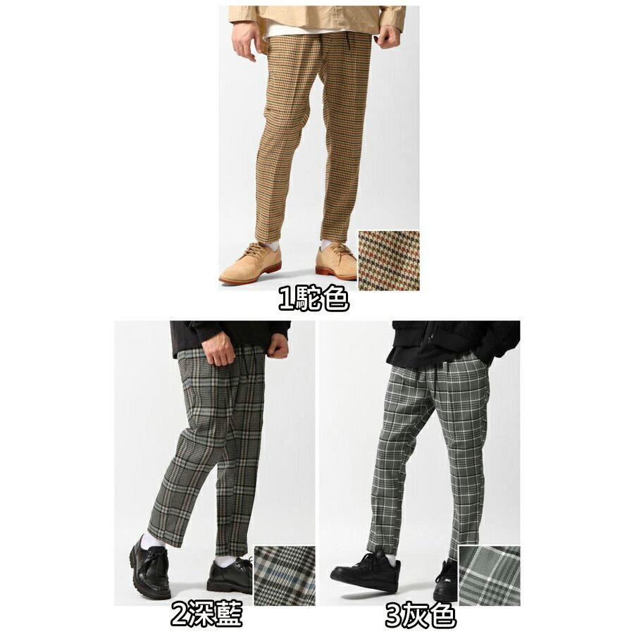 格紋9分錐形休閒褲 鬆緊帶 2