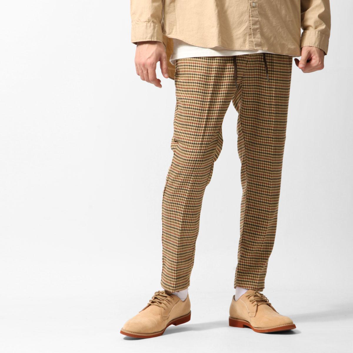 格紋9分錐形休閒褲 鬆緊帶 1