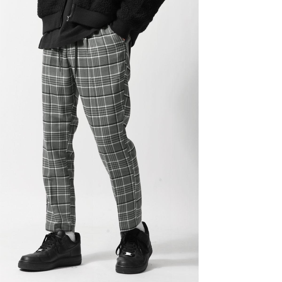 格紋9分錐形休閒褲 鬆緊帶 7