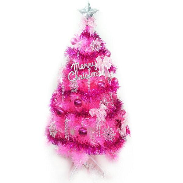 摩達客 台灣製4尺(120cm)特級粉紅色松針葉聖誕樹 (銀紫色系配件+100燈LED燈粉紅白光1串)(附控制器跳機) YS-CPT04303