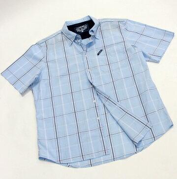 『摩達客』美國進口超人氣犀牛牌【 Ecko Unltd 】Roll Call 淡藍方格短袖休閒衫