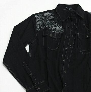 『摩達客』美國進口設計品牌【AT Collins】黑色復刻貴族繡紋長袖襯衫[樂天潮品]