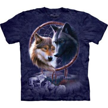 『摩達客』[ 預購 ]美國進口【The Mountain】Classic自然純棉系列 捕夢狼 深藍色設計T恤