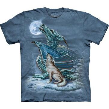 『摩達客』[ 預購 ]美國進口【The Mountain】Classic自然純棉系列 龍狼月 藍灰色設計T恤