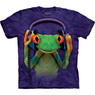 『摩達客』美國進口【The Mountain】Classic自然純棉系列 DJ和平蛙 藍紫色設計T恤