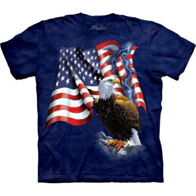 『摩達客』[ 預購 ]美國進口【The Mountain】Classic自然純棉系列 老鷹美國旗設計T恤