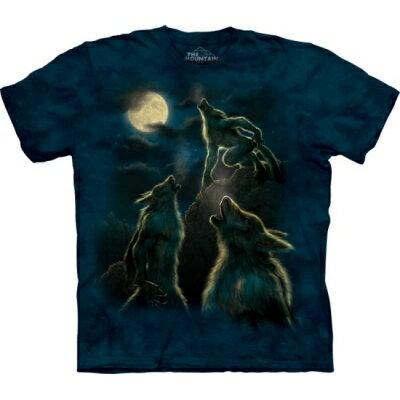 『摩達客』[ 預購 ]美國進口【The Mountain】Classic自然純棉系列 三狼人嘯月設計T恤