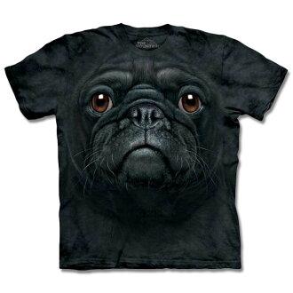 『摩達客』[ 預購 ]美國進口【The Mountain】自然純棉系列 黑巴哥犬臉 T恤
