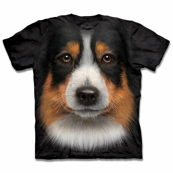 『摩達客』[ 預購 ]美國進口【The Mountain】自然純棉系列 澳洲邊境牧羊犬臉 T恤