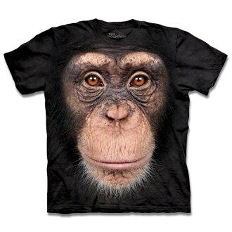 『摩達客』[ 預購 ](大尺碼3XL) 美國進口【The Mountain】自然純棉系列 黑猩猩臉 T恤