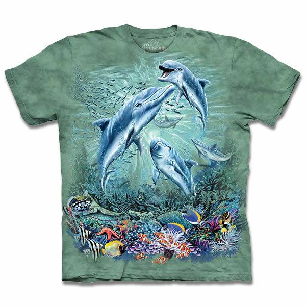 『摩達客』[ 預購 ]美國進口【The Mountain】自然純棉系列 尋十二海豚群 T恤