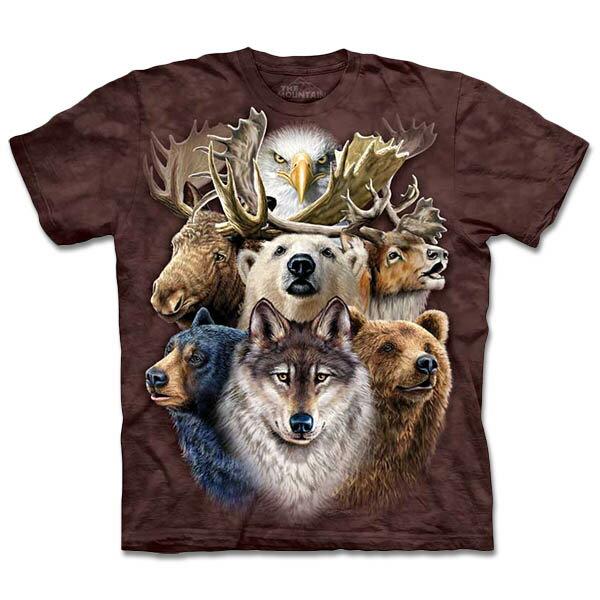 『摩達客』[ 預購 ](大尺碼3XL) 美國進口【The Mountain】自然純棉系列 北美動物拼貼 T恤