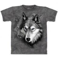 『摩達客』美國進口【The Mountain】Classic自然純棉系列 野狼像 灰黑T恤