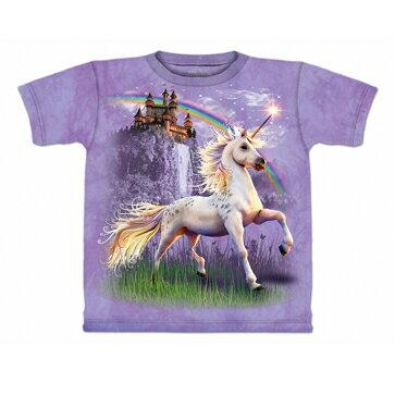 『摩達客』美國進口【TheMountain】Classic自然純棉系列獨角獸城堡紫色T恤