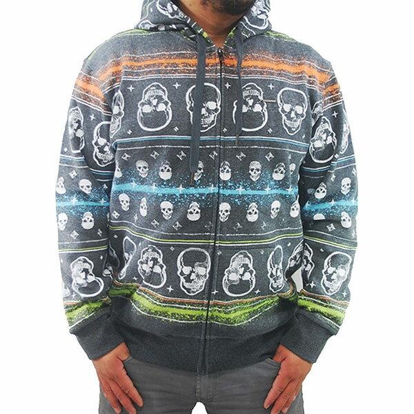 『摩達客』美國進口【Ecko Unltd】犀牛牌 橫紋骷髏頭鋪綿連帽外套/拉鍊外套/夾克