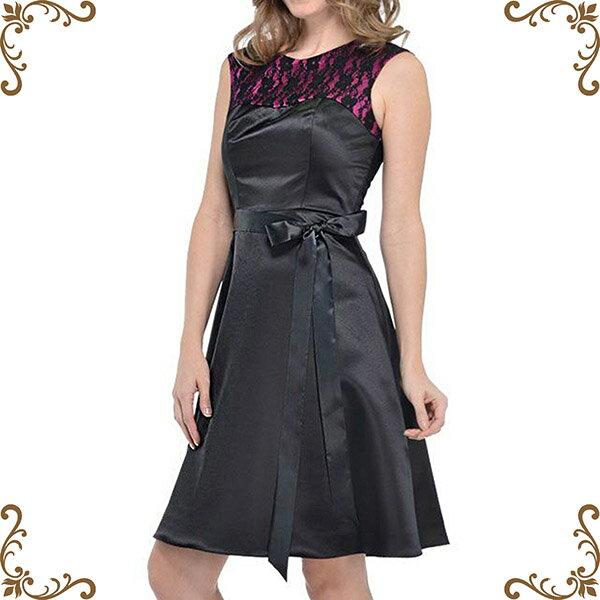 【摩達客】美國進口Landmark蕾絲黑紫色系緞面裙浪漫派對小禮服/洋裝(含禮盒)