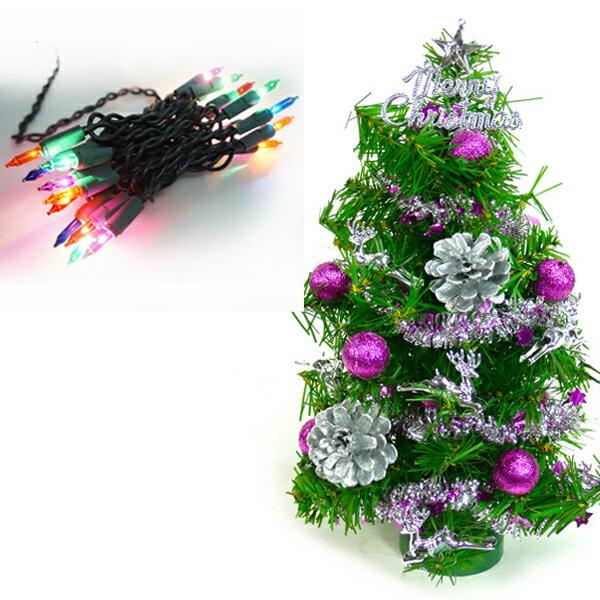 台灣製迷你1呎/1尺(30cm)裝飾聖誕樹 (銀紫色系)(+20燈樹燈串)(本島免運費)YS-GT11004