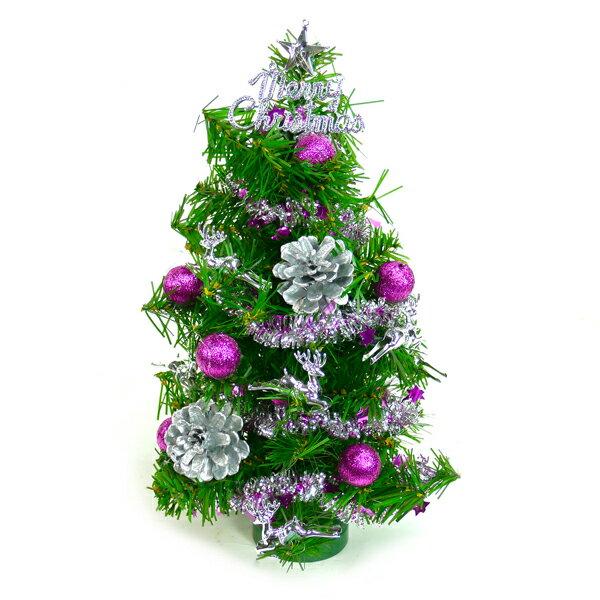 台灣製迷你1呎/1尺(30cm)裝飾聖誕樹(銀紫色系)(本島免運費)YS-GT10004