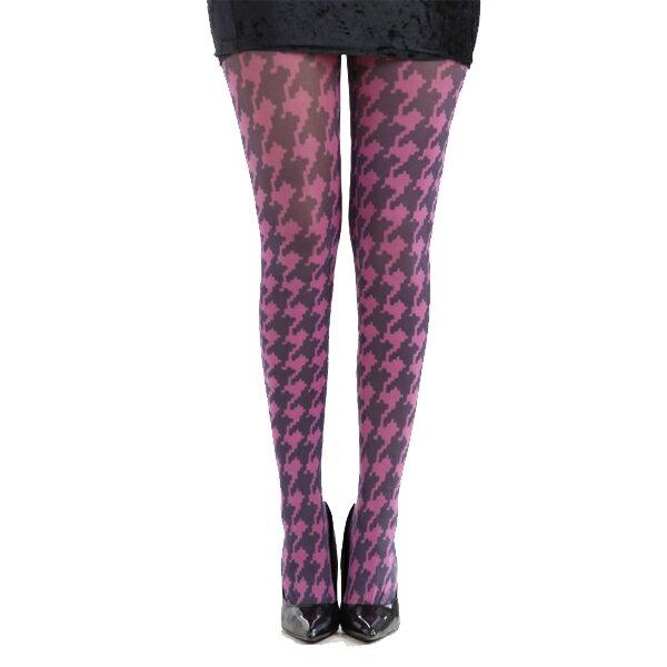 『摩達客』 英國進口義大利製【Pamela Mann】粉紅千鳥格紋彈性絲襪褲襪