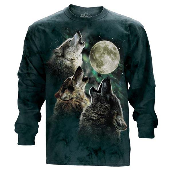 【摩達客】(預購)美國進口The Mountain 三狼嚎月 純棉長袖T恤