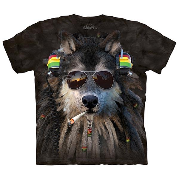 【摩達客】(預購)(大尺碼3XL)美國進口The Mountain 抽菸拉斯塔狼 純棉環保短袖T恤