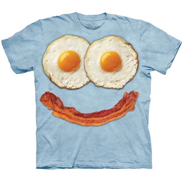 【摩達客】(現貨)美國進口The Mountain 煎蛋培根臉 純棉環保短袖T恤
