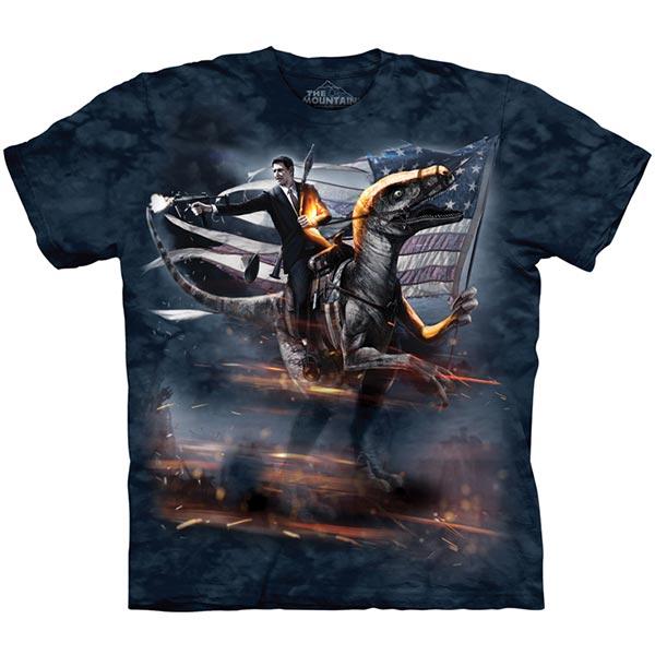 【摩達客】(預購)(大尺碼3XL)美國進口The Mountain 雷根迅猛龍 純棉環保短袖T恤