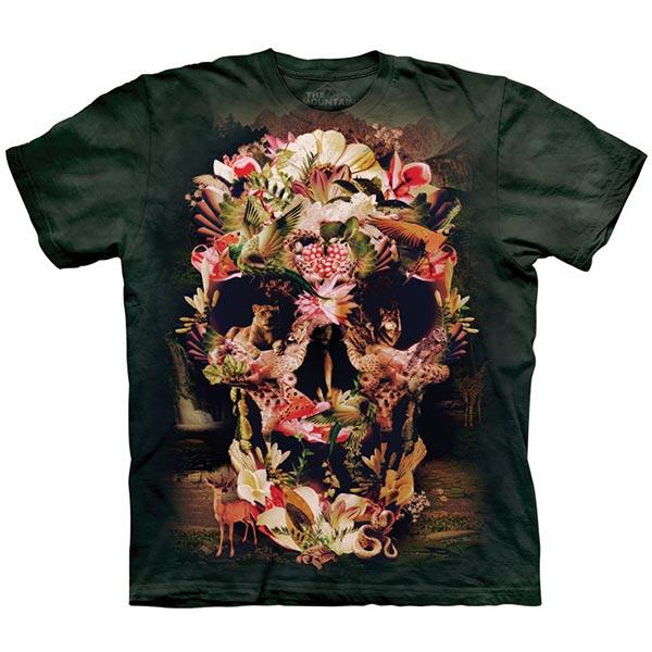 【摩達客】(預購)美國進口The Mountain 叢林花骷髏 純棉環保短袖T恤