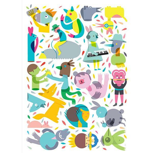 【摩達客】西班牙知名插畫家Judy Kaufmann藝術創作海報掛畫裝飾畫-Party系列04(附Judy本人簽名)(含木框)
