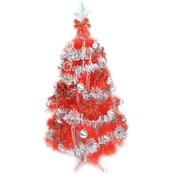 台灣製6尺(180cm)特級紅色松針葉聖誕樹 (銀紅色系配件)(不含燈)YS-CPT06002