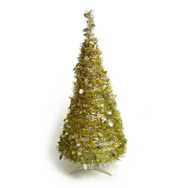 4尺/4呎(120cm) 創意彈簧摺疊聖誕樹 (金色系)YS-FTR04001