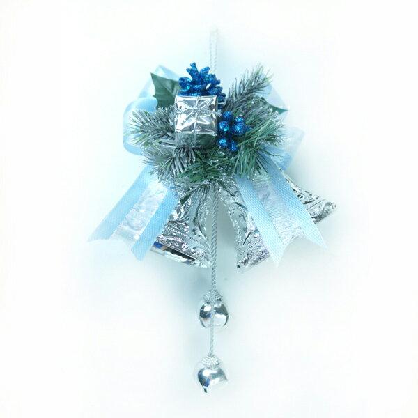 4吋雙花鐘吊飾-藍銀色 YS-HB160007