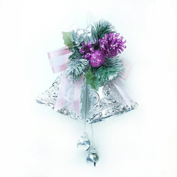 4吋雙花鐘吊飾-銀紫色 YS-HB160008