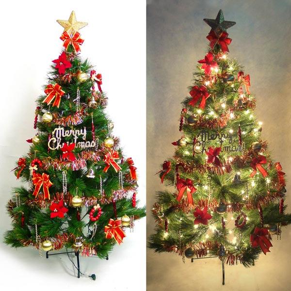 台灣製10呎/10尺 (300cm)特級綠松針葉聖誕樹(+紅金色系配件組+100燈鎢絲樹燈7串)YS-GPT010101