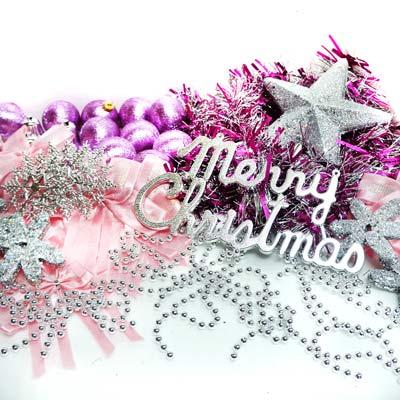 聖誕裝飾配件包組合~銀紫色系 (10尺(300cm)樹適用)(不含聖誕樹)(不含燈) YS-DS10004