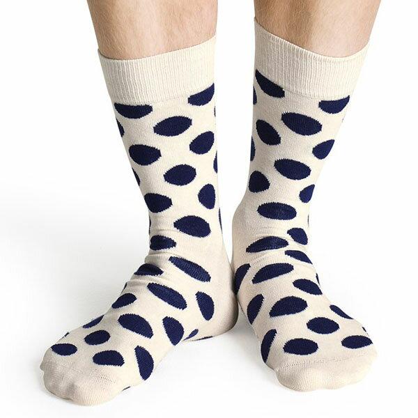 『摩達客』瑞典進口【Happy Socks】白底藍圓點中統襪