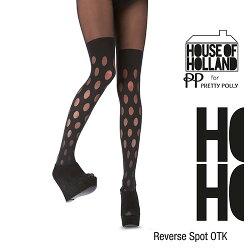 『摩達客』英國進口【House of Holland】圓點過膝高筒印花彈性褲襪(黑色)