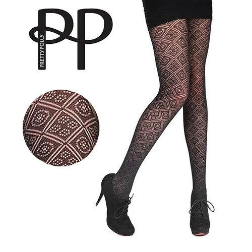 『摩達客』英國進口【Pretty Polly】鑽方格紋印花彈性褲襪