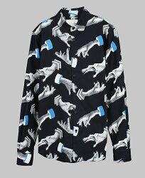 【摩達客】韓國進口EXO合作設計品牌DBSW Hand Drops手掉了黑色時尚純棉男士修身長袖襯衫