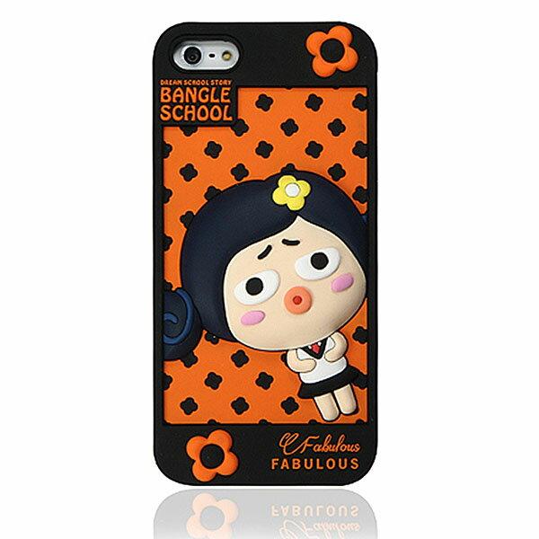 『摩達客』iPhone5手機套韓國Fabulous進口【Bangle School】可愛Judy黑橘色3D矽膠保護套