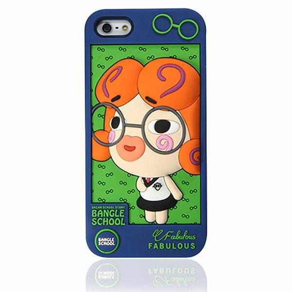 『摩達客』iPhone5 手機套韓國Fabulous進口【Bangle School】眼鏡Glala藍綠3D矽膠保護套
