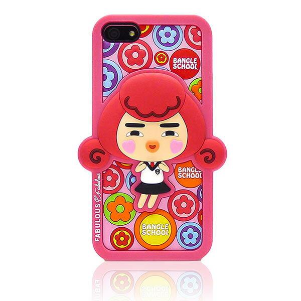『摩達客』iPhone5手機套韓國Fabulous進口【Bangle School】小花Yola粉紅3D矽膠保護套