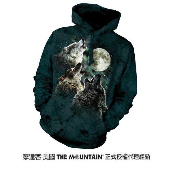 『摩達客』(預購)美國進口【The Mountain】三狼嚎月 長袖連帽T恤