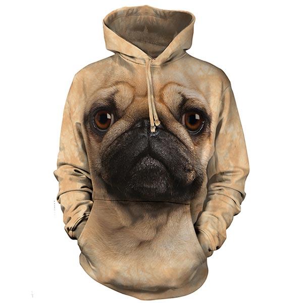『摩達客』美國進口【The Mountain】巴哥犬臉 長袖連帽T恤