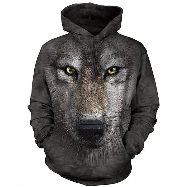 『摩達客』(預購)美國進口【The Mountain】狼臉 長袖連帽T恤