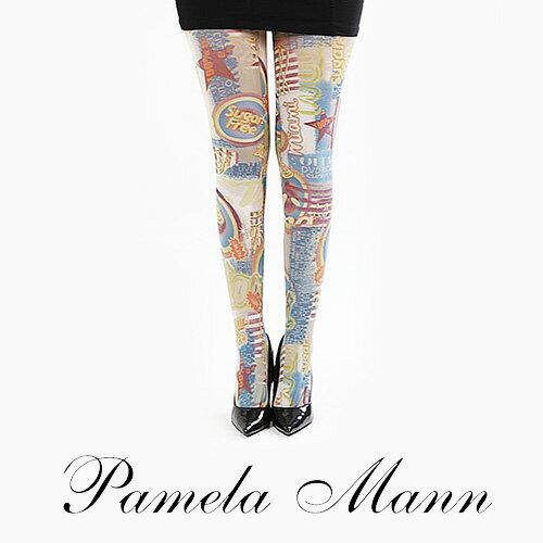 『摩達客』英國進口義大利製【Pamela Mann】Sugar Free歡樂藝術圖紋彈性褲襪