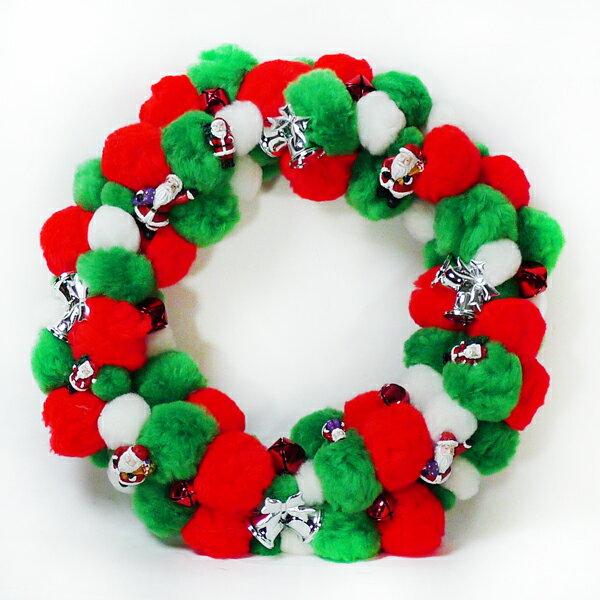 絨毛球聖誕花圈(紅白綠三色系) YS-VW024002