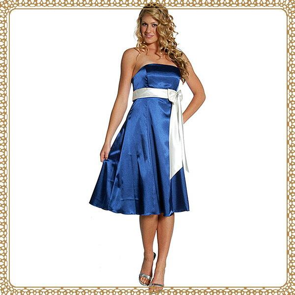 『摩達客』美國進口Landmark無肩帶平口藍色緞面優雅過膝裙派對小禮服/洋裝(含禮盒)