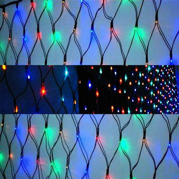 聖誕燈裝飾燈LED燈 128燈 網燈 (四彩色光) (高亮度又省電)YS-XSLED100005