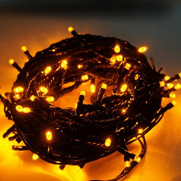 100燈LED燈串聖誕燈 (黃光黑線)(附控制器跳機)(高亮度又省電)YS-XLED100003